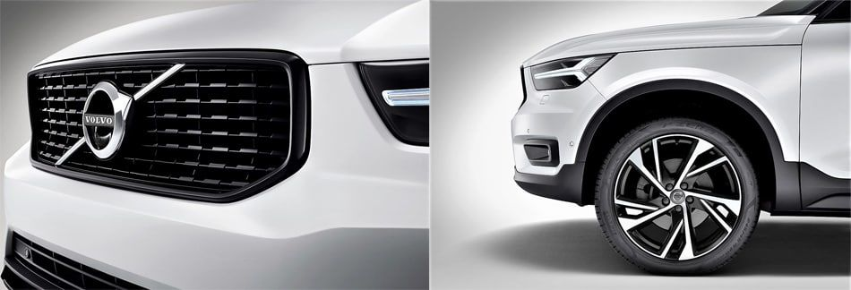 The 2019 Volvo XC40 - close up of front