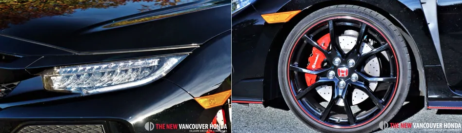 civic type r - headlight and wheel details