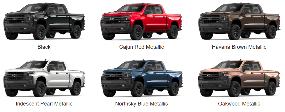 Color Options for 2019 Chevrolet Silverado - available colors