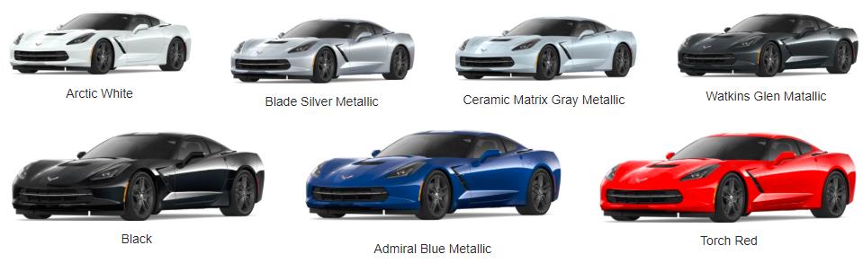 2018 Chevrolet Corvette Color Choices - color options for chevy corvetter