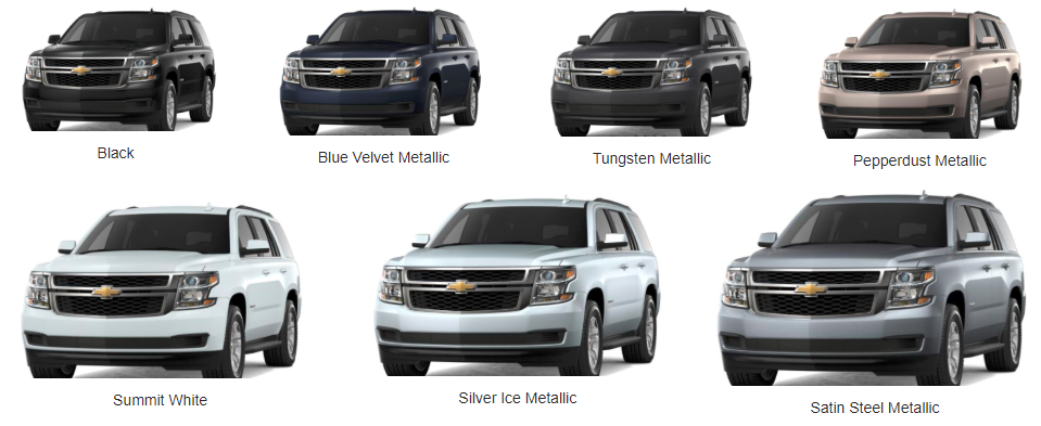 2018 Chevy Tahoe Color Options - color options available