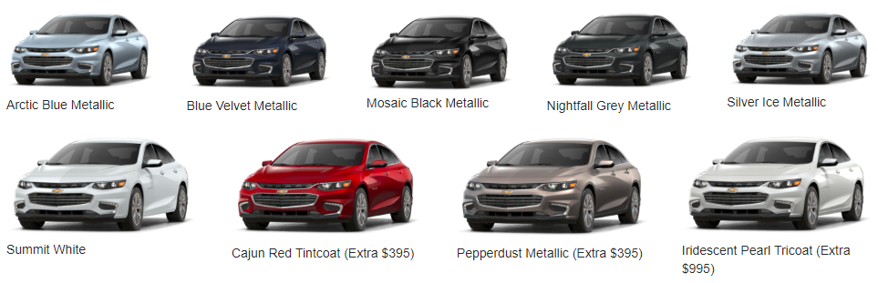 Colour Your Ride in the Chevy Malibu - option of colors