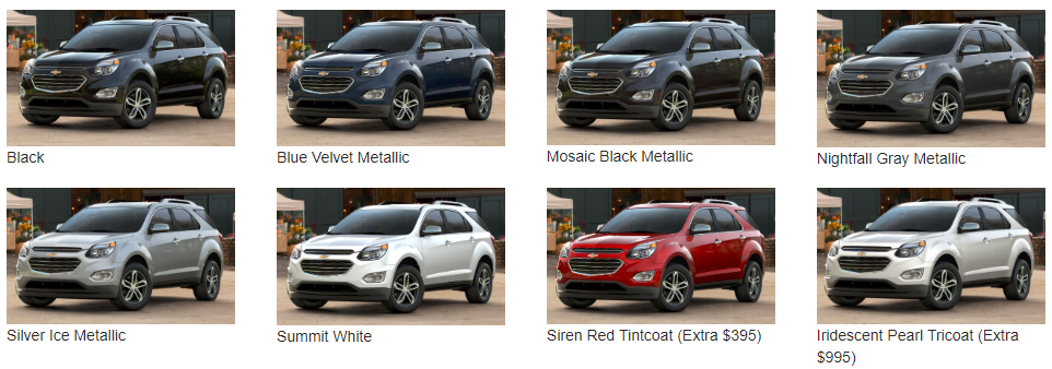colour options for the 2017 Equinox- color options available