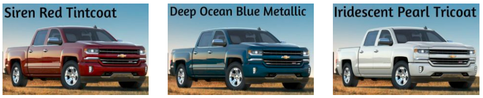 2017 Chevrolet Silverado Colour Options - color options available