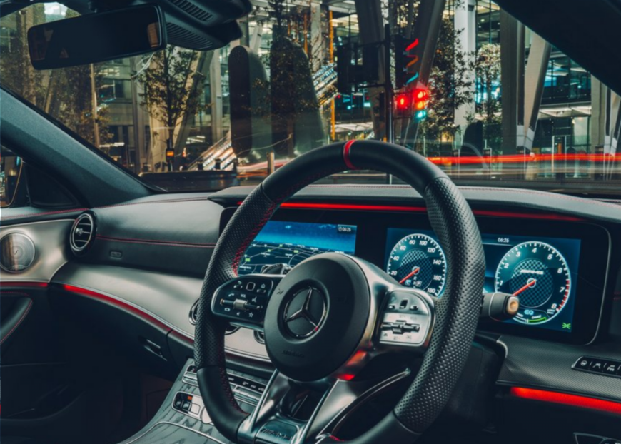the MBUX system - steering wheel and screen system