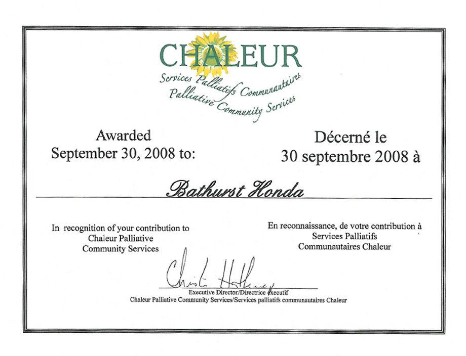 En reconnaissance de votre contribution au Service Communauté Palliatifs Chaleurs.