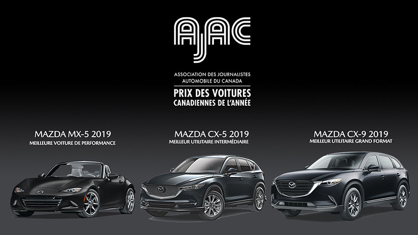 l'Association des journalistes automobile du Canada décerne trois prix à Mazda