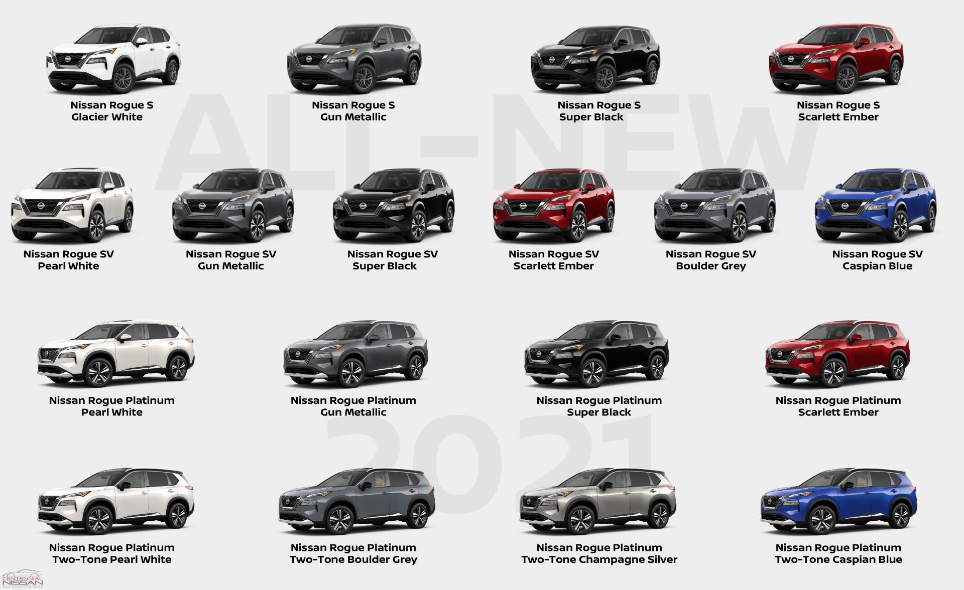 Centennial Nissan Of Charlottetown Every Colour Option On The All New 2021 Nissan Rogue In Canada