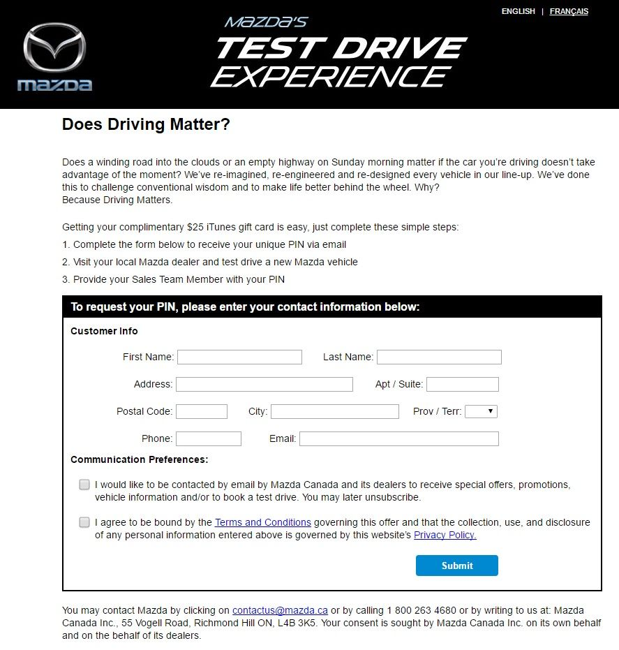Mazda's Test Drive Experience