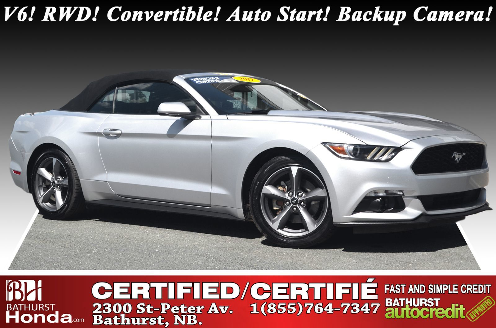 2017 Ford Mustang V6 Rwd Convertible Auto Start Backup Camera Satellite Radio Bluetooth Used For Sale In Bathurst Credit