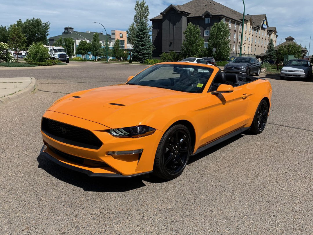 Used 2019 Ford Mustang Convertible Leather Nav Orange Fury Metallic Tri Coat 16 624 Km For Sale 33800 0 Southland Volkswagen B3894