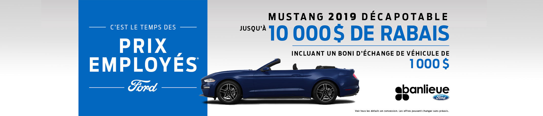 Prix employé Mustang