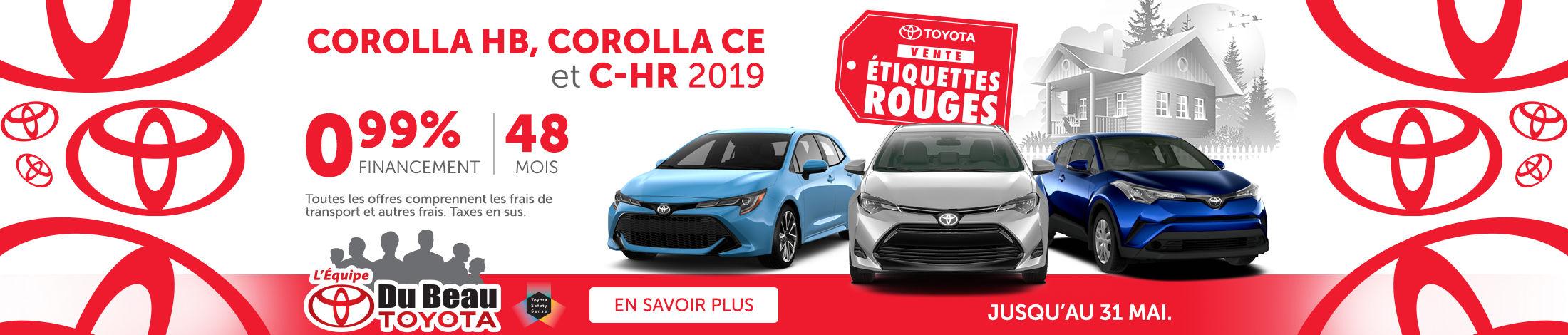 Corolla CE 2019, Corolla HB 2019, C-HR 2019