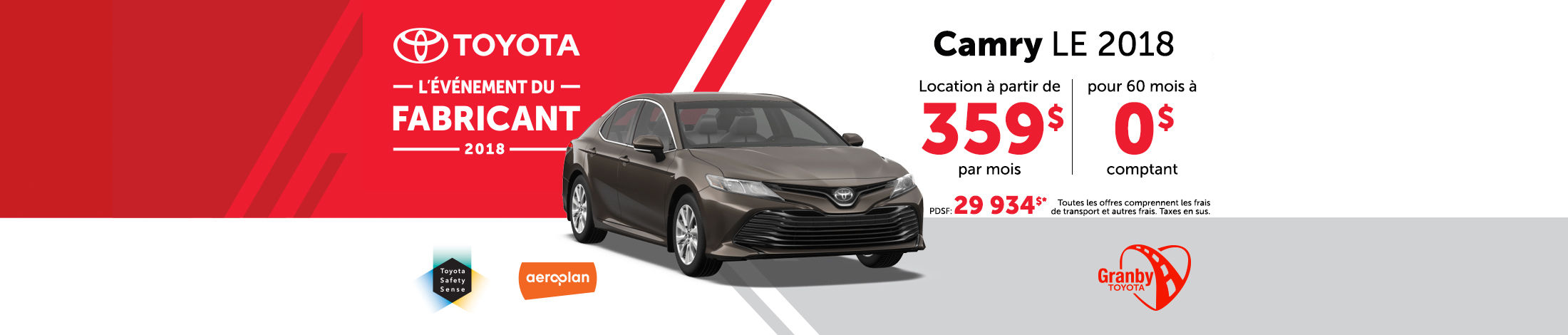 Camry LE 2018 promotion