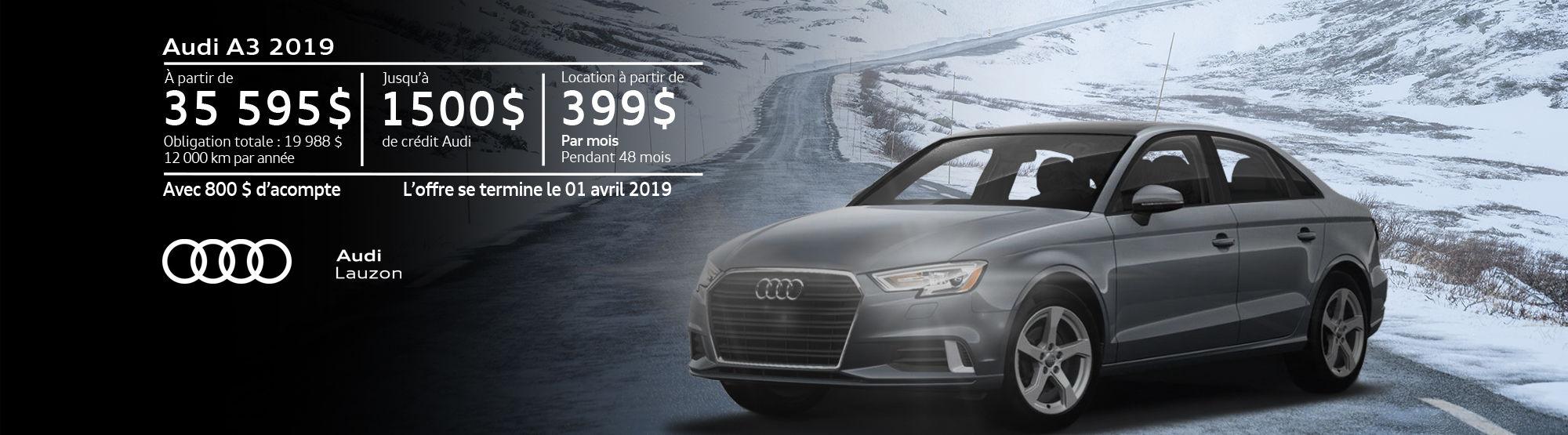 Audi A3 mars 2019