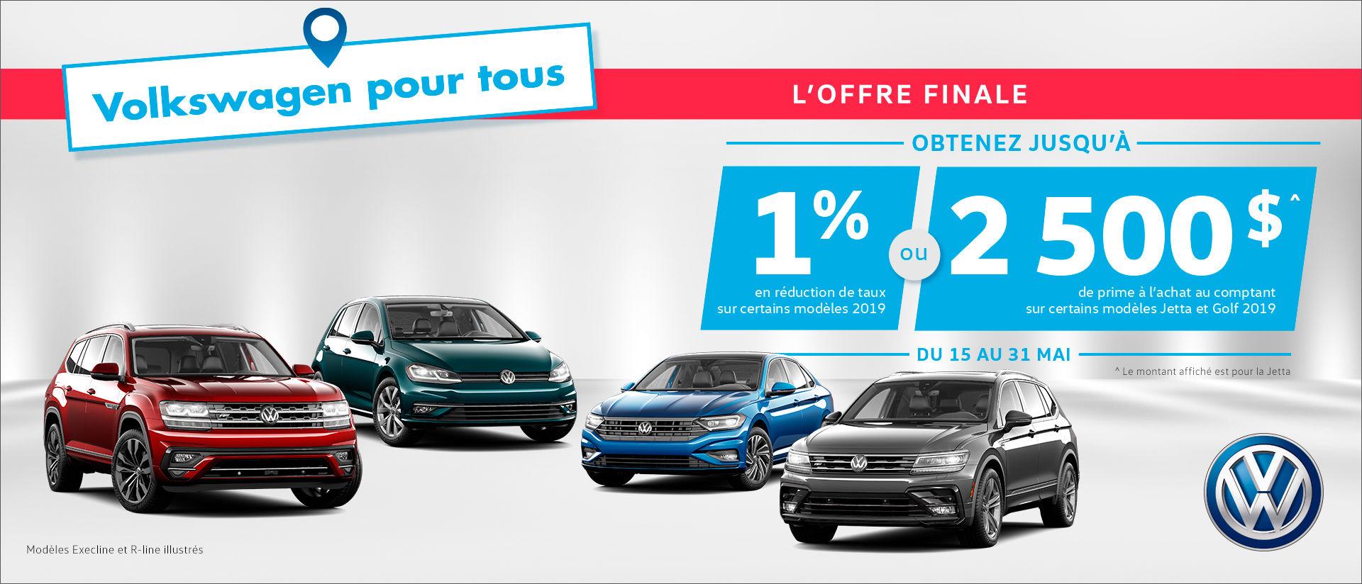 VW promo mai 1% rabais