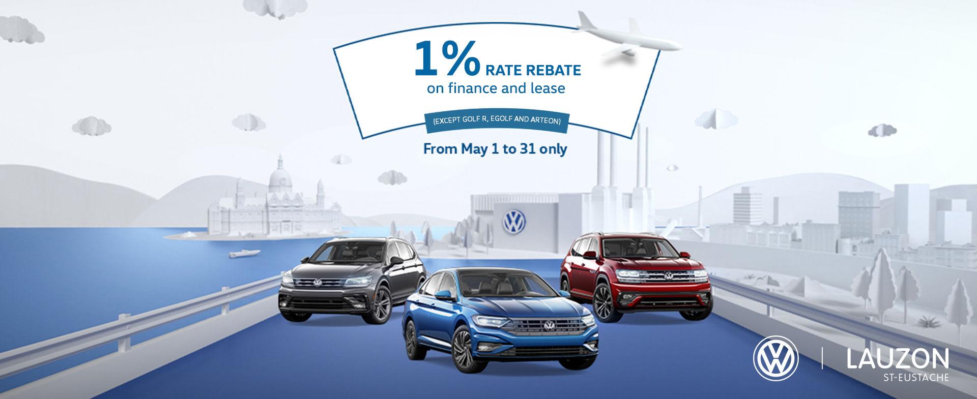 VW May promo 1% rebate