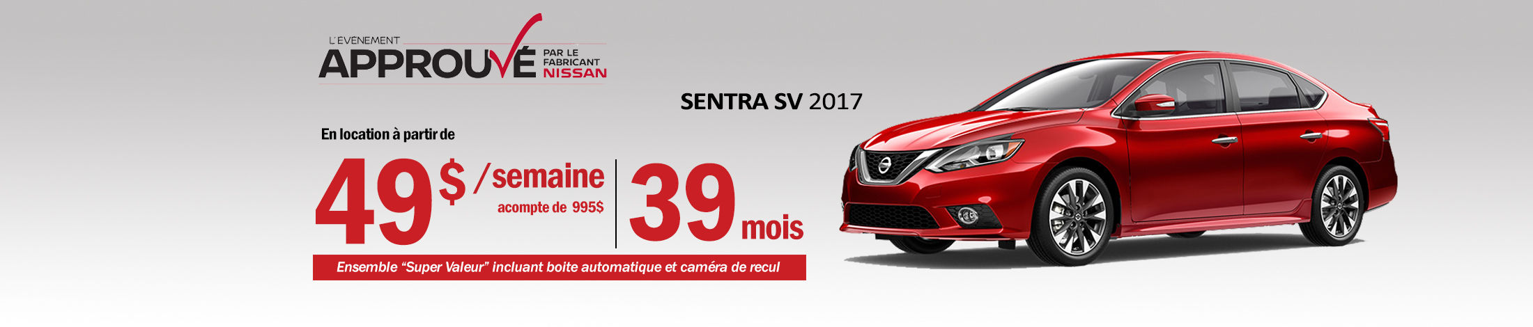 Nissan Sentra Promotion mai banner