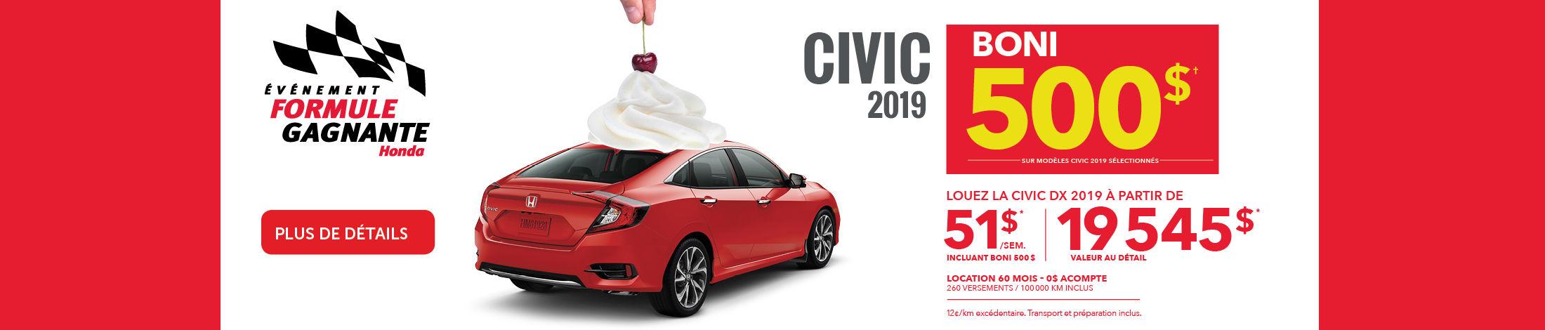 civic juillet 2019
