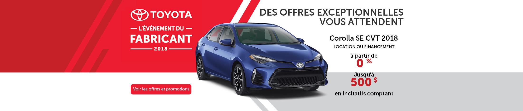 Toyota l'événement du fabricant 2018