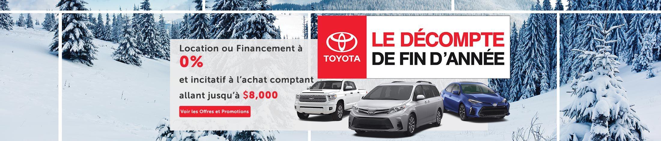 Toyota le décompte de fin d'année