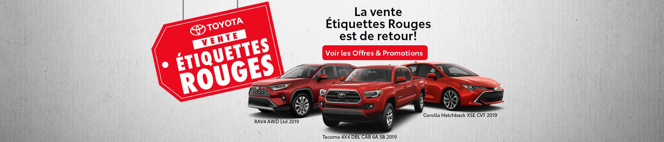La vente Étiquettes Rouges Toyota