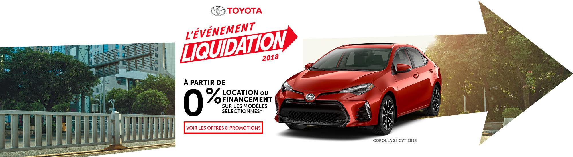 Toyota l'événement liquidationt 2018