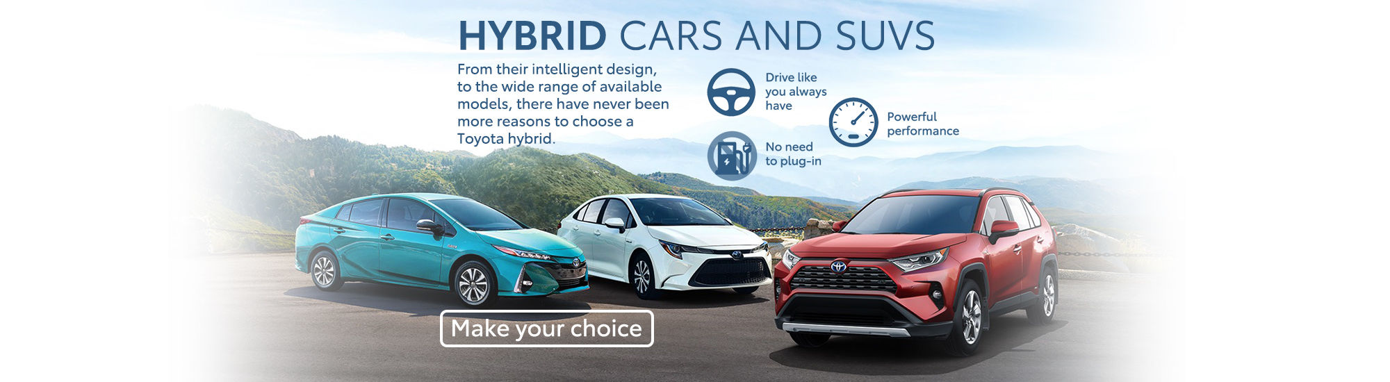 Hybrid cars and SUVS Toyota