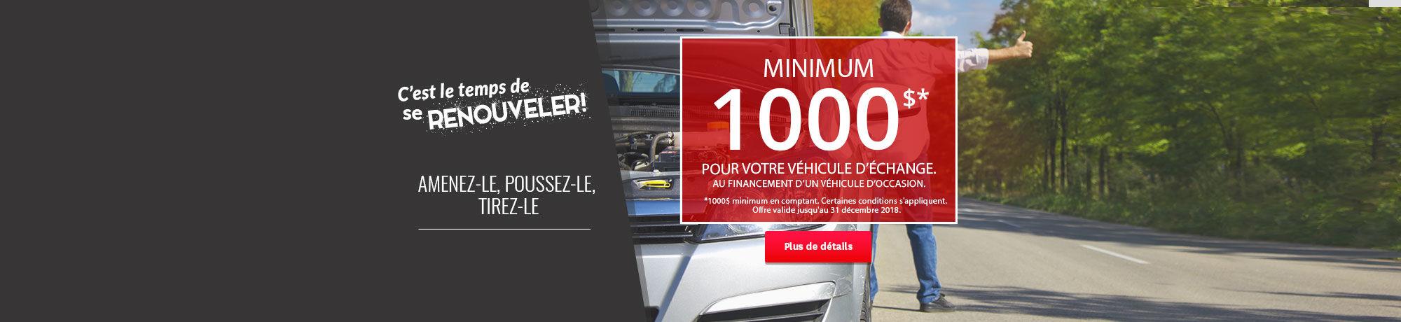 Minimum de 1000$ pour votre échange chez Honda Casavant