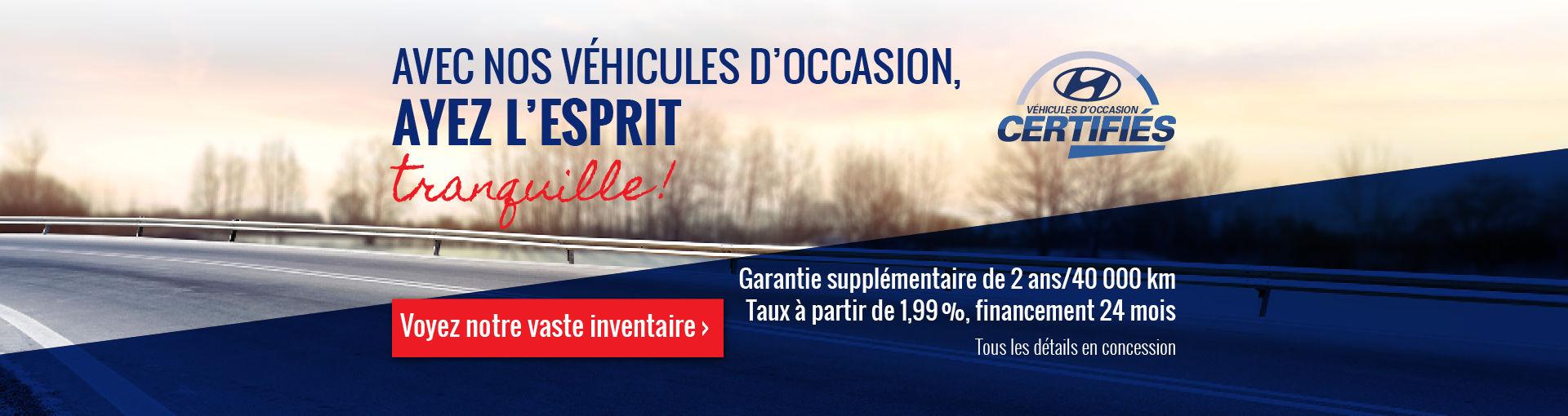 Découvrez nos véhicules d'occasions Hyundai Casavant