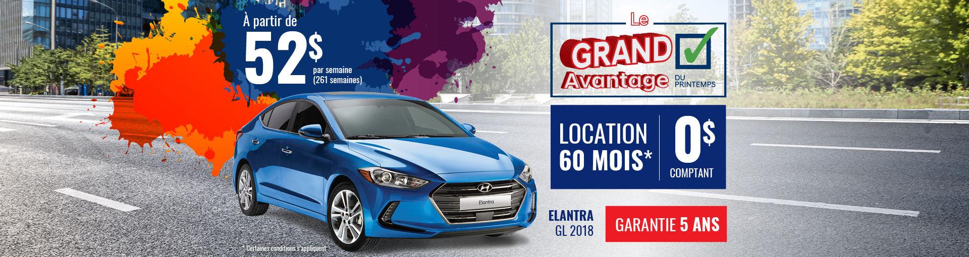 Promo Hyundai Casavant avril 2018-Elantra GL 2018