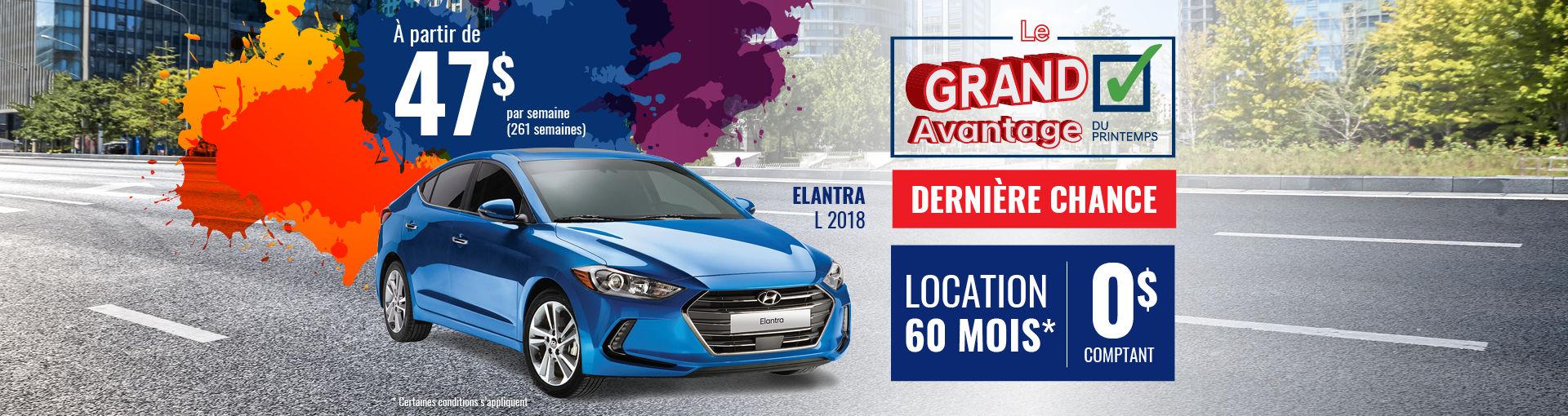 Promo Hyundai Casavant mai 2018-Elantra L 2018