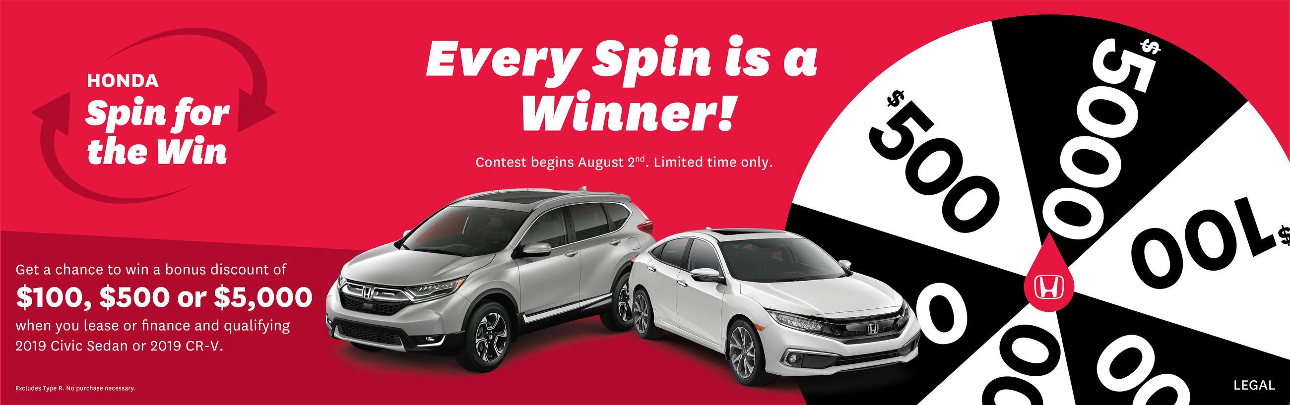 Honda Spin & Win promotions in Ontario | at Cornwall Honda