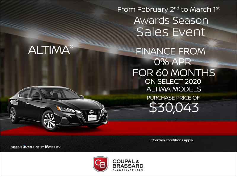 Get The 2020 Nissan Altima Today Coupal Brassard