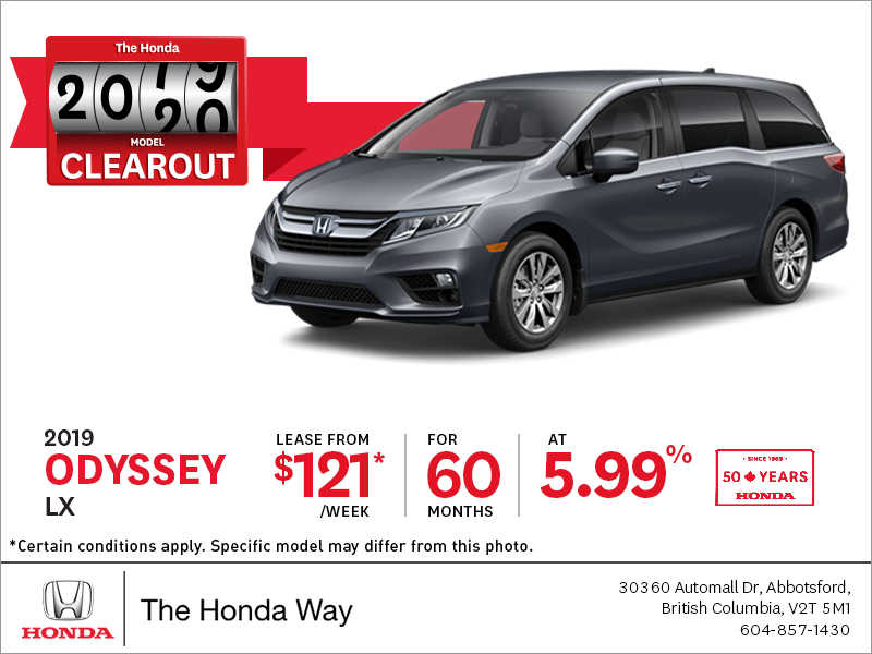 Lease the 2019 Honda Odyssey Today!