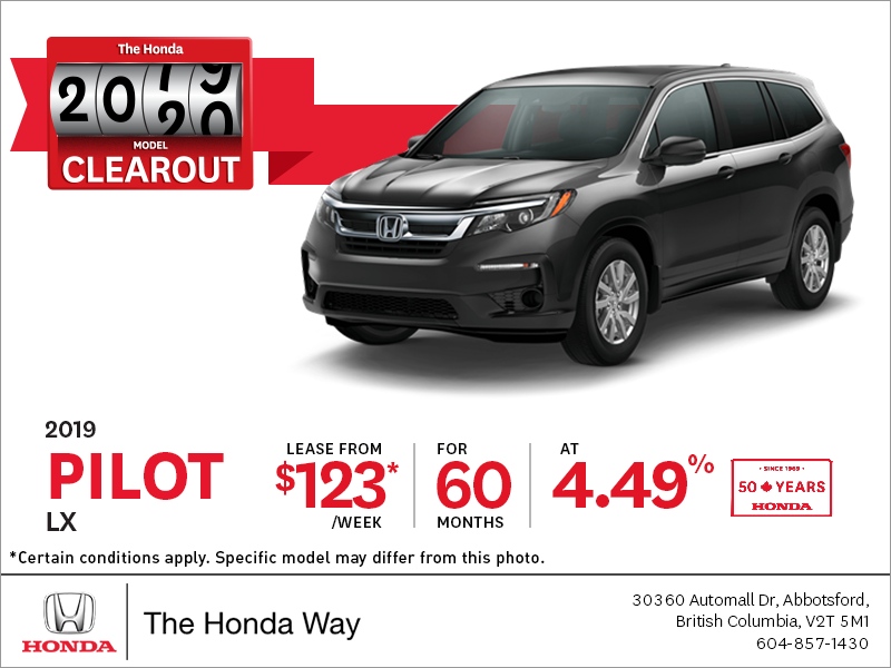 Lease the 2019 Honda Pilot Today!