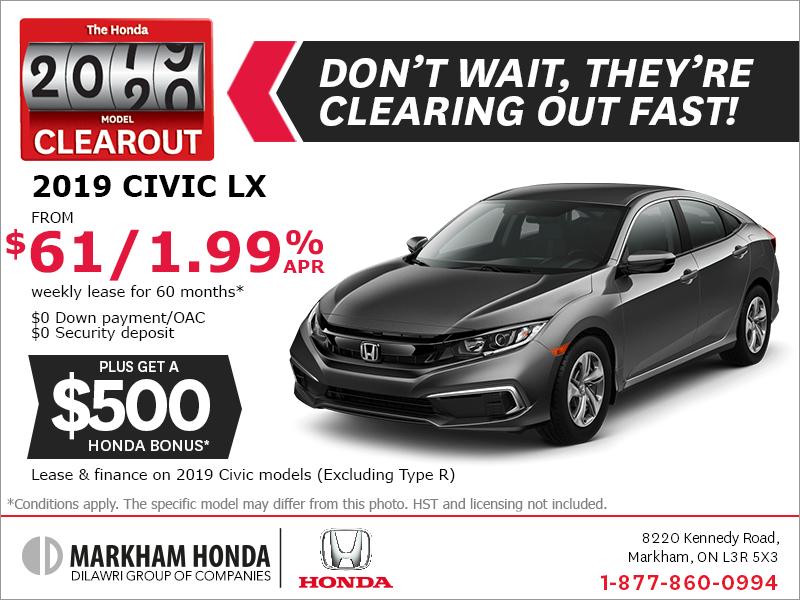 Honda Civic Lease >> Markham Honda Lease The 2019 Honda Civic