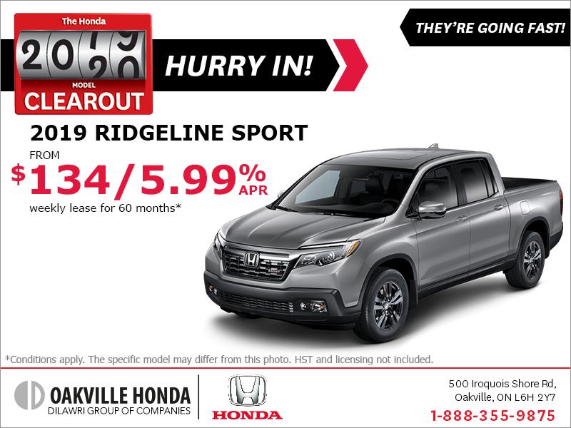Honda Ridgeline Lease >> Oakville Honda Lease The 2019 Honda Ridgeline