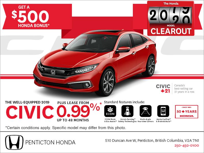 Honda Civic Lease >> Penticton Honda Lease The 2019 Honda Civic Today