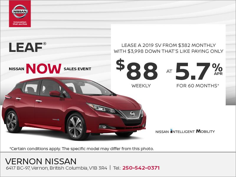 Nissan Leaf Lease >> Vernon Nissan Get The 2019 Nissan Leaf