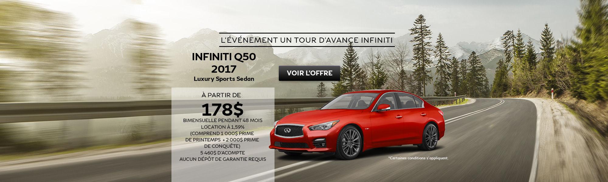 L'événement un tour d'avance INFINITI Q50 Sedan