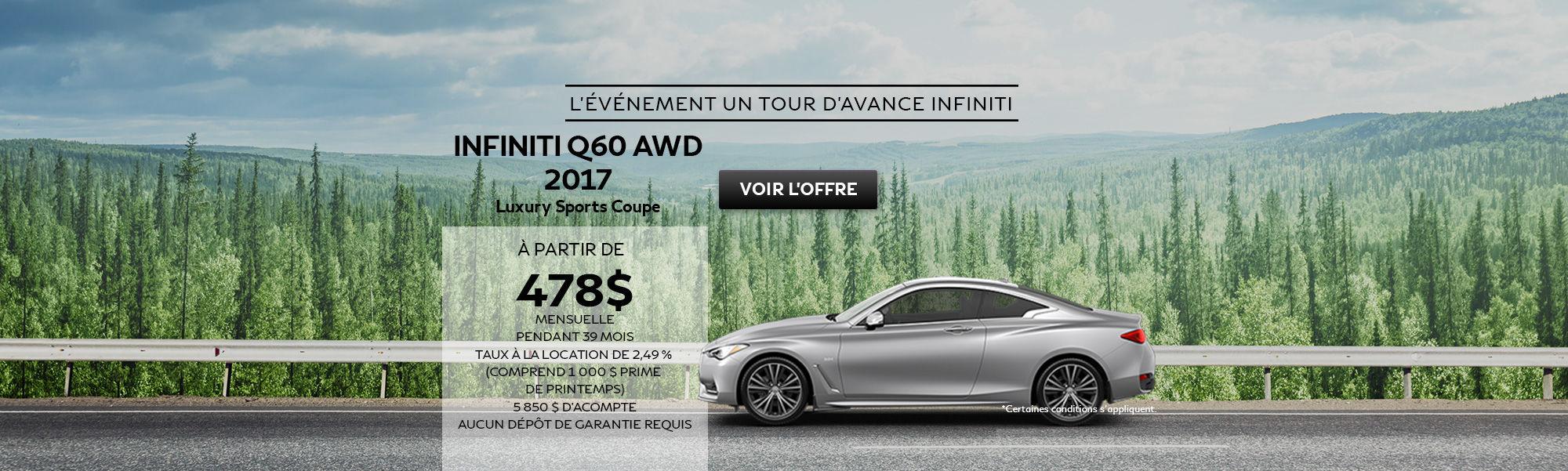L'événement un tour d'avance INFINITI Q60 AWD