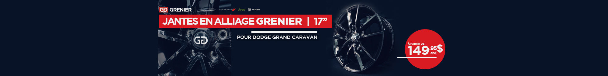 Jantes GRENIER en alliage - Grand Caravan (Copie)