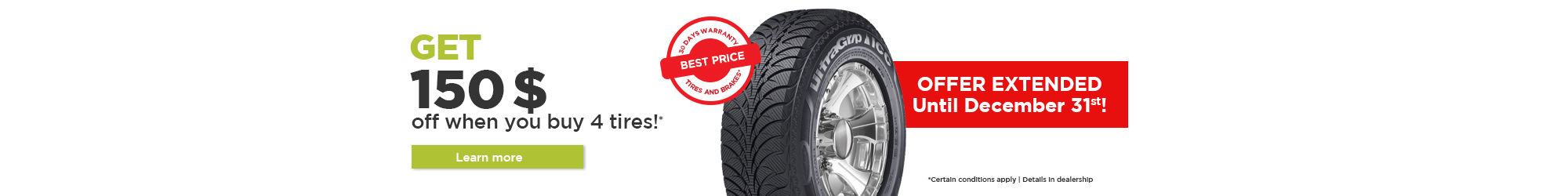 $150$ rebate on tire set!