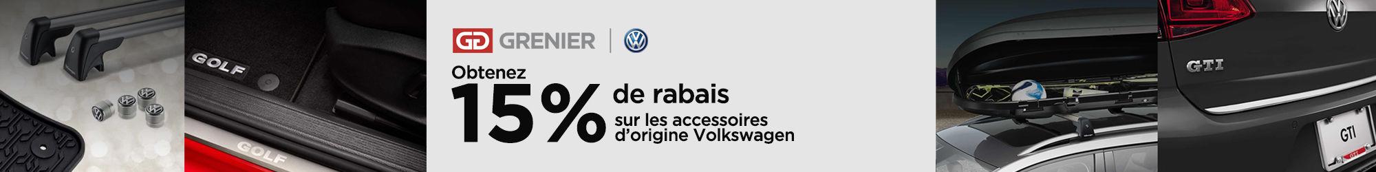 15% de rabais accessoires d'origine Volkswagen