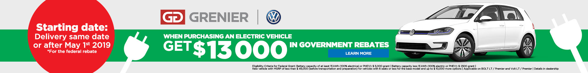 Government rebate for electric vehicles
