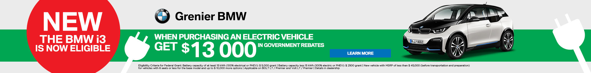 BMW i3 $13000 government rebate!
