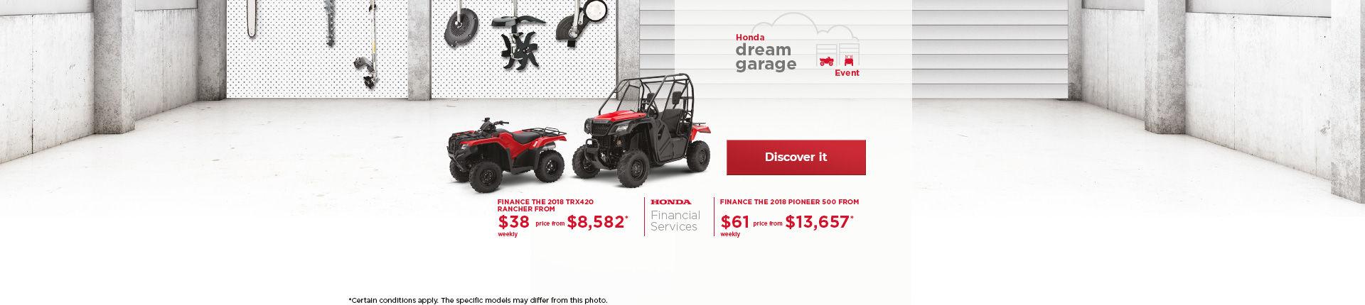 Honda Dream Garage on ATVs