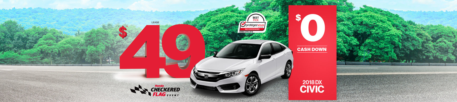Lease the 2018 Honda Civic in Montreal