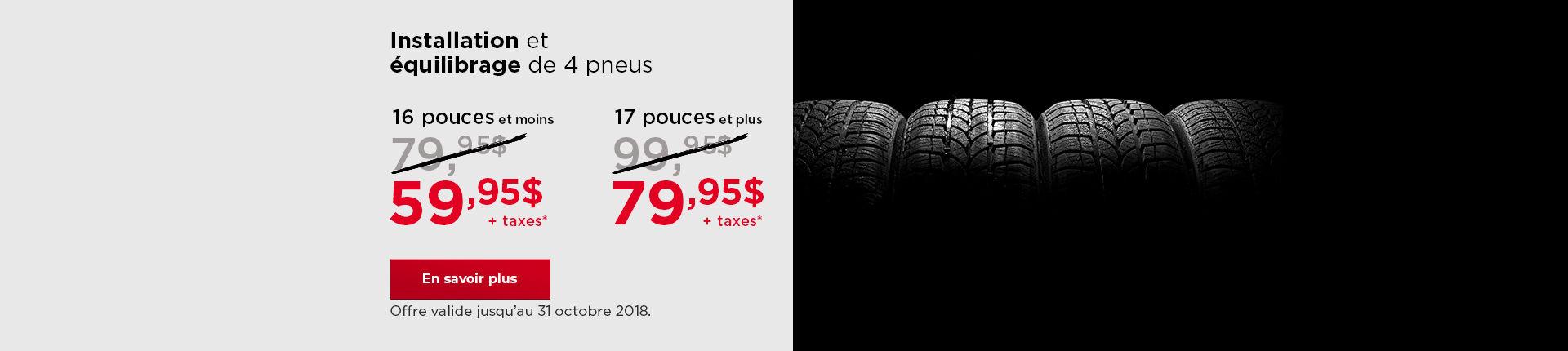 Installation et  équilibrage de 4 pneus